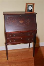 Stenciled Writing Desk with Clock
