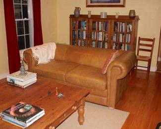 Sofa, Large Wood Coffee Table, Book Case and Books