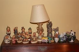 Hummels!! and Table Lamp with Animal Figurines and Bric-A-Brac