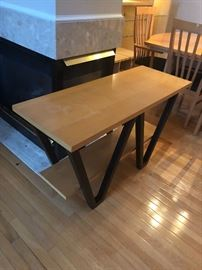 Blonde wood hall table, same height as the dining room table