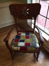 ANTIQUE Rocker Inlaid back