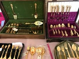 Beautiful sets of Silver plate flatware and Gold flatware