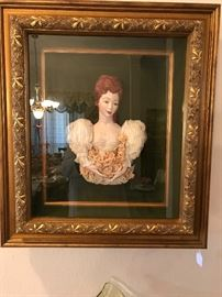 "Framed ""Madame Duberry"" handmade with antique lace and fired. Custom framed"