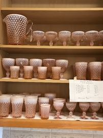 Different sizes of Hobnail opalescent glasses and pitcher