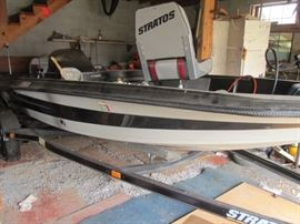 Stratos 255V fishing boat with trailer (needs new tires). 1989-90, 15-1/2' long.