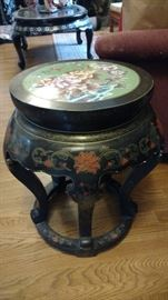 Stool with cloisonne inset top