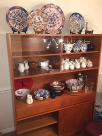 Mid century Modern china cabinet with sliding glass doors