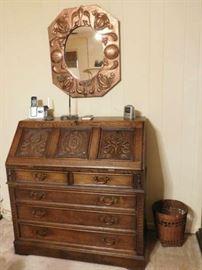 Antique Copper Mirror, Oak Drop Front Desk