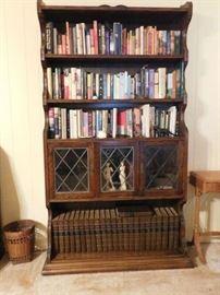 7' Oak Bookcase, Leaded Glass