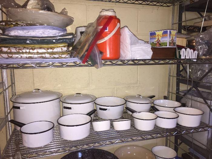 White enamel pots