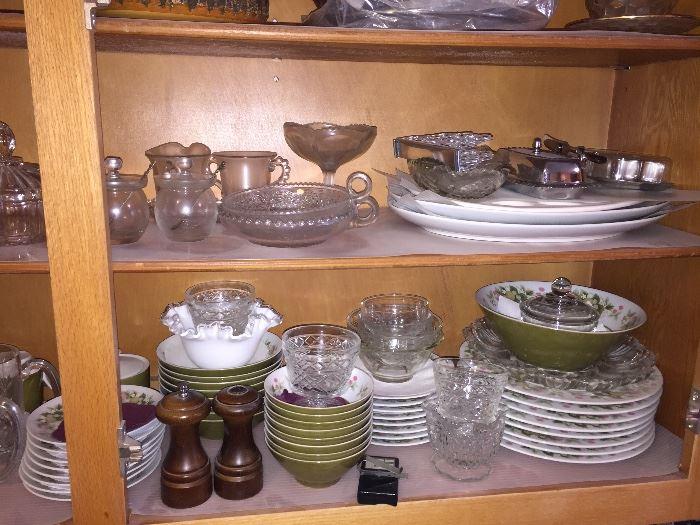 Vintage Mikasa dish set- lower shelf