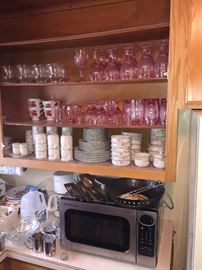 Pink glasses/ stainless microwave