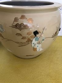 Ceramic Porcelain planter with Ladies done in mother of pearl
