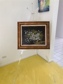 Floral still life on large Lucite Artists Easel