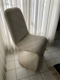 Modernist Upholstered chairs attributed to Verner Panton just need a touch of cleaning to be ready for your home.