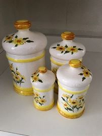 Vintage Retro 1976 Kitchen Canister Set Sears Roebuck & Co Ceramic Yellow Daisy
