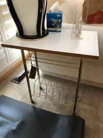 Vintage Mid Century Metal Gold Tone Record LP Album 45 Rack Rolling Cart holder