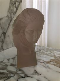 Frederick Elliott Hart (District of Columbia/Virginia, 1943-1999) clear acrylic resin sculpture carved in deep relief in her flowing hair.