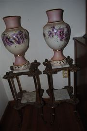 Large Matching China Vases     Marble and metal plant stands