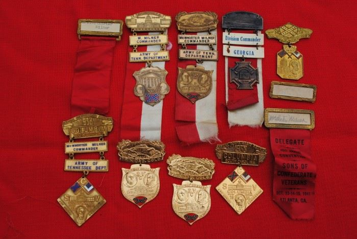 Medals  and name tags from conventions of the Sons of Confederate Veterans  from the 1930s and 40s.