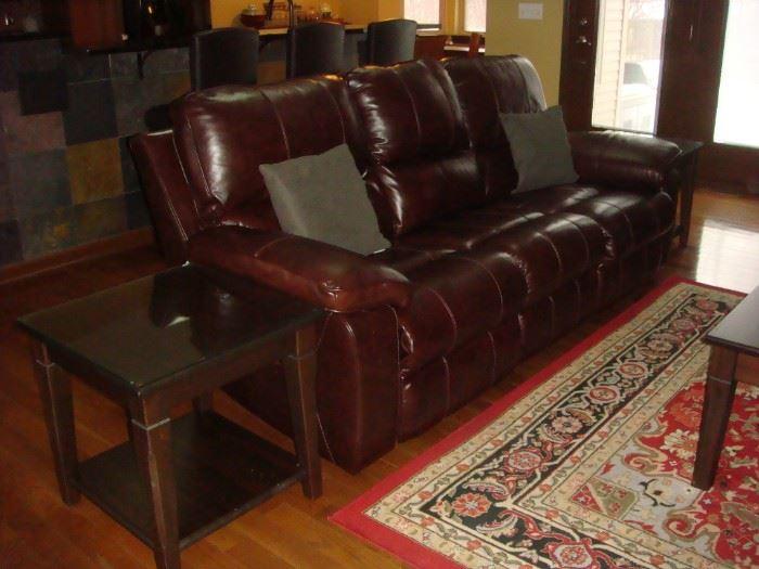 Leather recline sofa