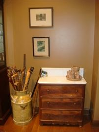 Vintage canes, Wallace nutting and wash stand