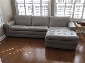 Gorgeous grey leather sectional by Haverty's