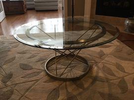 Art Deco glass and metal table