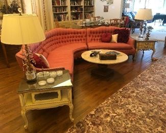Lovely French Provincial vintage sectional sofa, marble coffee table and 2 end tables with vintage crystal lamps