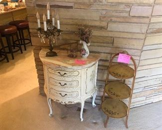 3 Drawer French console chest with marble top, Hand painted tea caddy