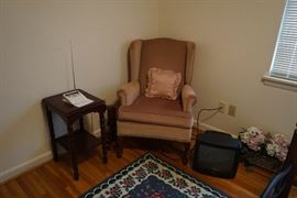 Weather radio, side chair, occasional table