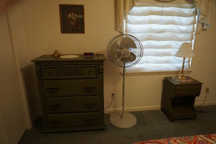 Vintage chest and night stand, floor fan