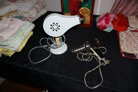 Vintage working hair dryers, linens