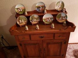 Farm girl plate set - Germany, Ethan Allen cabinet