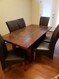 Wood and Slate Table and 6 Slipper Chairs