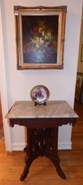 Antique mahogany marble top table, Oil painting of Flower Arrangement
