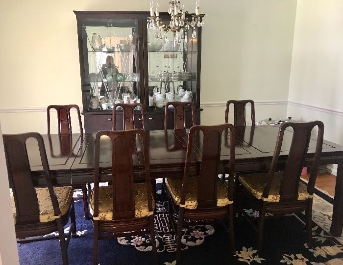 Solid rosewood extension table and ten chairs
