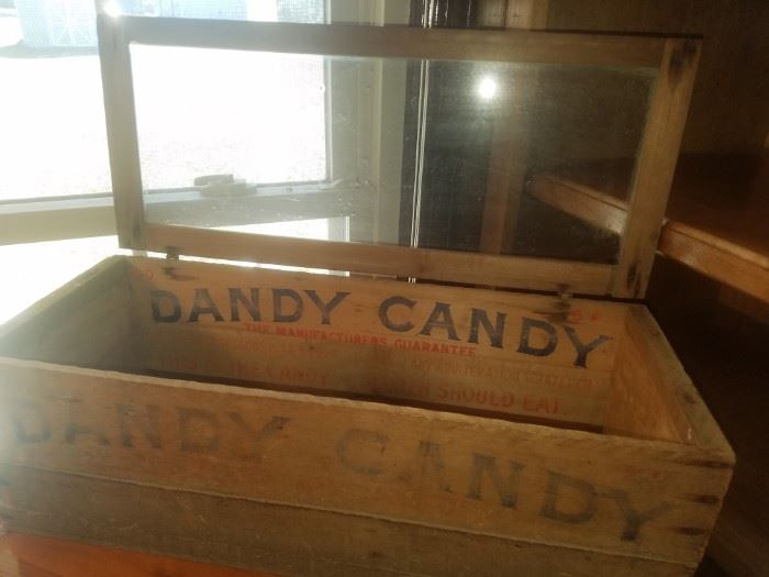 Antique Dandy Candy wooden display crate with glass hinged lid.