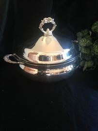 Silver plate serving bowl with cover
