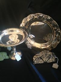 Silver plate compote, reticulated tray and letter holder