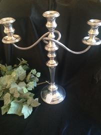 One of two stunning sterling candelabras