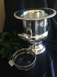 Silver plate champagne bucket and wine bottle coaster