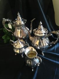 Four-piece silver plate tea set