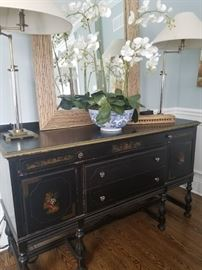 Antique Black Buffet with chinoisserie detail, 66.5w x 22.5d x 40h