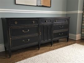 Black painted buffet with gold accents by Drexel Heritage, 75w x 20d x 32.5h