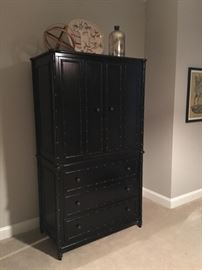 Black faux bamboo armoire by Arhaus, 44w x 24d x 76h