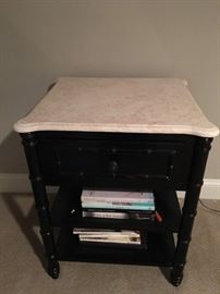Pair of black faux bamboo side tables with granite top by Arhaus, 23w x 21d x 28h