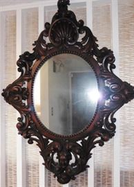 Italian carved wood framed mirror