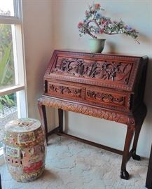 Rose medallion garden stool, jade&hardstone floral display, George Zee Asian carved desk