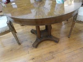 Pedestal Entrance Table with Burled Finish